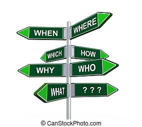 3d question words signage signpost - 3d illustration of...
