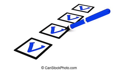 3d questionnaire - 3d illustration of check blue mark over ...
