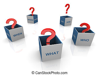 3d questions words boxes
