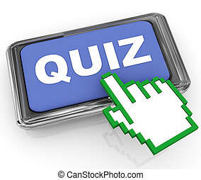 3d render of hand cursor pointer and reflective shiny 'quiz' button.