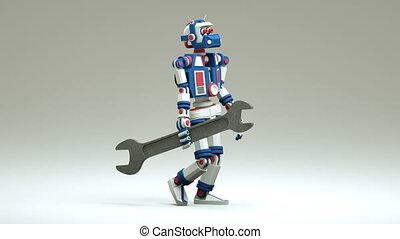 3d, réparateur, robot, vient, clé