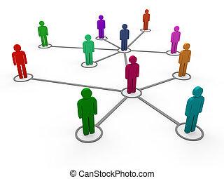 3d, réseau, équipe, couleur