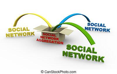 3d, réseau, aggregation, social