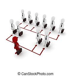 3d, réseau, homme affaires