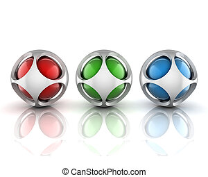 3d, résumé, sphères, ensemble