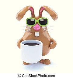 3d Rabbit drinks coffee
