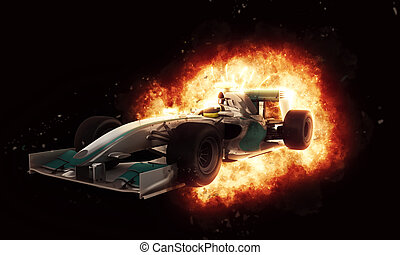 3D racing car with fiery explosion effect