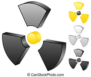 3D radiation sign icons on a white background. Vector illustration.