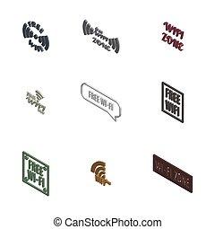 3d, radio, illustration., conjunto, vector, iconos