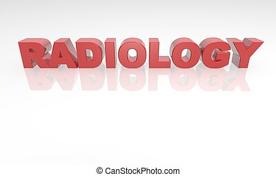 3d radiology red text reflection - Red text with reflection...