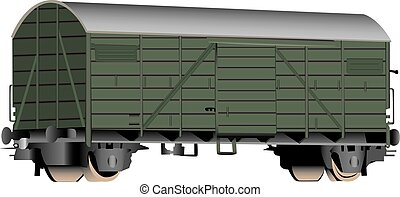 A three-dimensional rendering of a green railroad boxcar. White background