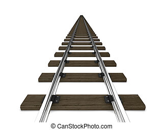 3d Railway tracks - 3d render of railway tracks