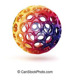 3d rainbow sphere on white background