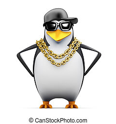 3d Rapper penguin hands on hips