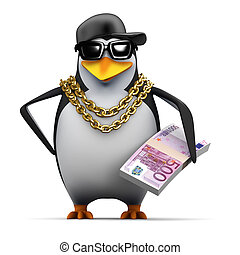 3d Rapper penguin holds Euro notes - 3d render of a penguin ...
