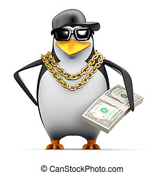 3d Rapper penguin holds US Dollars - 3d render of a penguin ...
