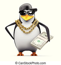 3d Rapper penguin holds US Dollars