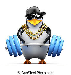 3d Rapper penguin lifts weights