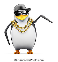 3d Rapper penguin points to the side