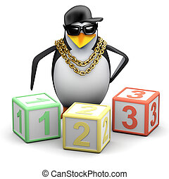 3d Rapper penguin teaches maths