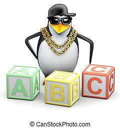 3d Rapper penguin teaches the alphabet