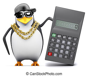 3d Rapper penguin uses a calculator - 3d render of a penguin...