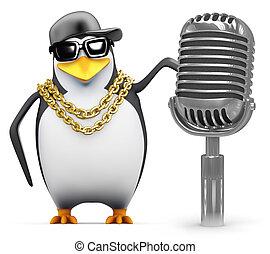 3d Rapper penguin with retro radio mic