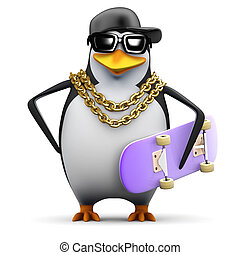 3d Rapper penguin with skateboard