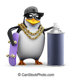 3d Rapper penguin with skateboard and paint