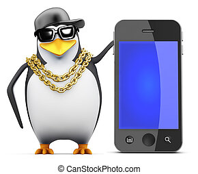 3d Rapper penguin with smartphone