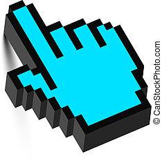 3d, ratón, mano, cursor, con, shadow., vector.