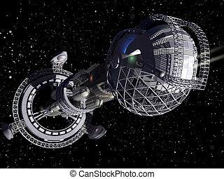 3d, raumschiff, interstellar