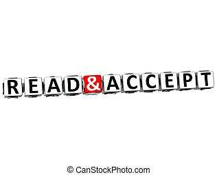 3D Read and Accept Crossword on white background