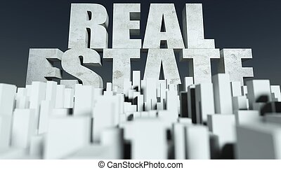 3d, real estate, begriff, modell, von, cityscape