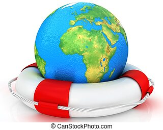3d real globe and lifebuoy ring