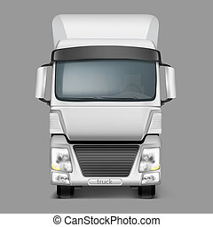 3d realistic cargo truck front view - 3d realistic icon of...