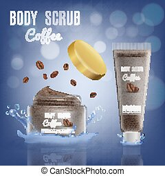 3d Realistic Coconut Body Scrub Cosmetic Package