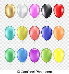 3d realistic colorful balloons set