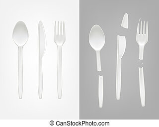 3d realistic disposable plastic spoon, fork, knife and...