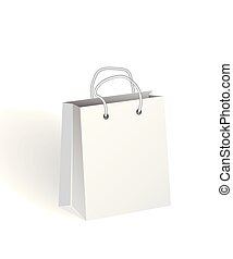 3d Realistic Empty white Paper Shopping Bag.