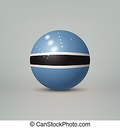 3d realistic glossy plastic ball or sphere with flag of Botswana