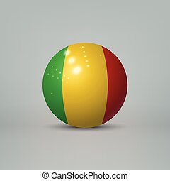 3d realistic glossy plastic ball or sphere with flag of Mali...