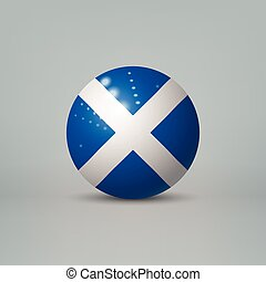 3d realistic glossy plastic ball or sphere with flag of Scotland
