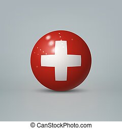 3d realistic glossy plastic ball or sphere with flag of Switzerland