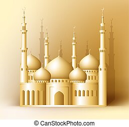 3d Realistic Golden Detailed Mosque