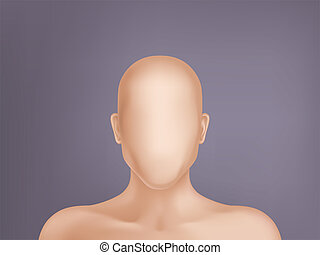3d realistic human model, head without face