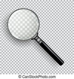 3D Realistic Magnifying Glass. Transparent loupe on plaid ...