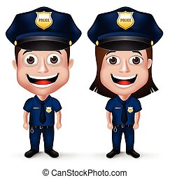 3D Realistic Police Characters Set - 3D Realistic Friendly...