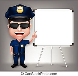 3D Realistic Friendly Police Man Character Policeman Teaching on White Board with Space for Text Isolated in White Background. Vector Illustration