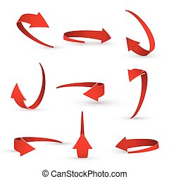 3D realistic red arrow twisted in various directions.